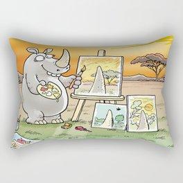 Rhino The Artist Rectangular Pillow