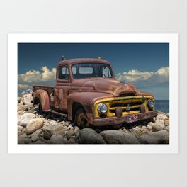 Old Rusted International Harvester Pickup Truck Art Print