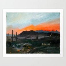 Sunset Over the Superstitions Art Print