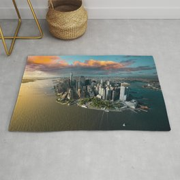Aerial view of lower Manhattan, New York City Rug