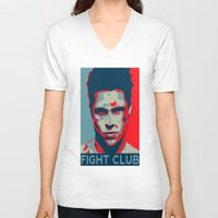 tyler spangler V-neck T-shirts featuring Tyler Durden by Jason Vaughan