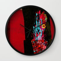 plant Wall Clocks featuring plant by frederic levy-hadida