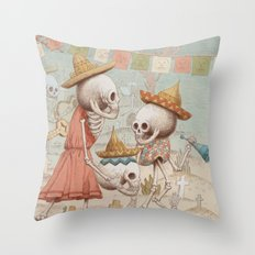 Mexican Skulls 3 Throw Pillow