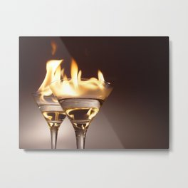 Flaming Aperitifs - Alcoholic Cocktails color photograph / photography by Nik Frey Metal Print