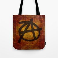 anarchy Tote Bags featuring Distressed Anarchy by Bruce Stanfield