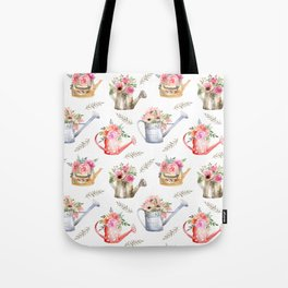 Garden watering cans and flowers. Vintage pattern Tote Bag