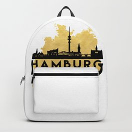 HAMBURG GERMANY SILHOUETTE SKYLINE MAP ART Backpack