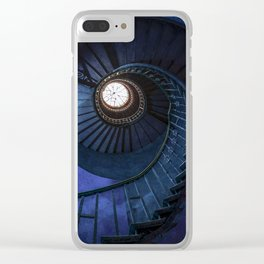 Abandoned blue spiral staircase Clear iPhone Case