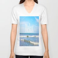 relax V-neck T-shirts featuring Relax by JuniqueStudio