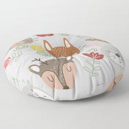 Woodland animals kids pattern grey background Floor Pillow