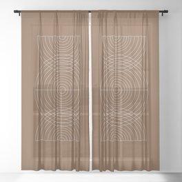 Burnt Orange, Geometric shape Sheer Curtain