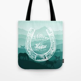 Horse Quote Typography - Horse Hoove Shoe quote - Horse lover Tote Bag