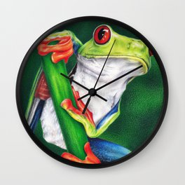 Red-eyed frog colored pencil illustration Wall Clock