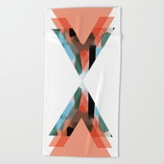 Three Triangles Geometric in Coral Beach Towel