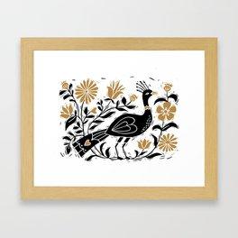 Element - bird art print, linocut bird art, black and gold, birds, birding, Framed Art Print