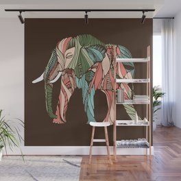 Elephant on Brown Wall Mural