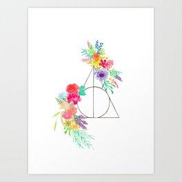 Deathly Hallows Floral Art Print