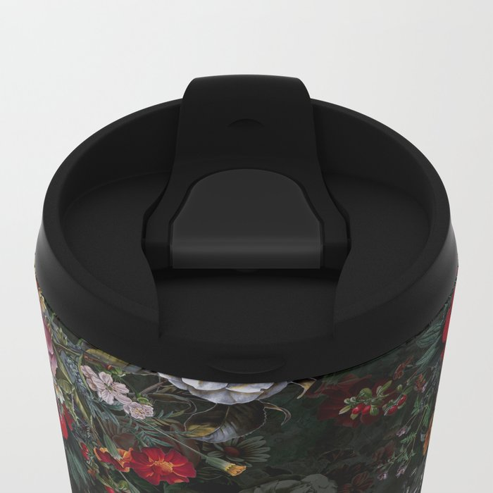 Botanical Flowers IV Dark Metal Travel Mug