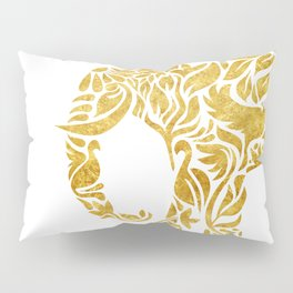 Floral Elephant in Gold Pillow Sham
