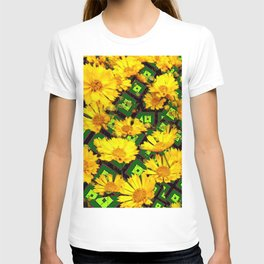 Golden Yellow Coreopsis Flowers Green-black Patterns T-shirt