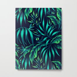 Jurassic Jungle - Green Metal Print