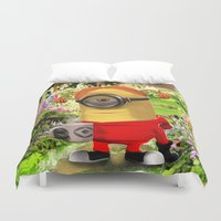 minions Duvet Covers featuring MINION by DisPrints