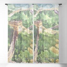 Great Wall of China Sheer Curtain