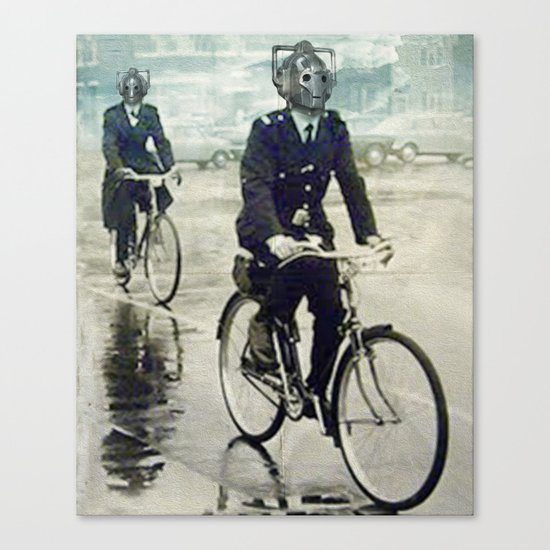Cybermen on bikes Canvas Print