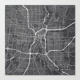 San Antonio Map, USA - Gray Canvas Print