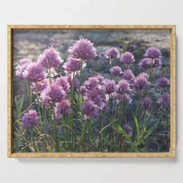 Wild chives flowering Serving Tray