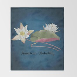 American Waterlilly Throw Blanket
