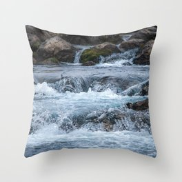 Rapids By Highway Throw Pillow