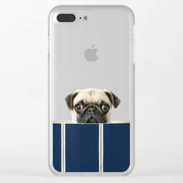 Peekaboo Pug Clear iPhone Case