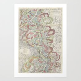 Beautiful Map of the Lower Mississippi River Art Print