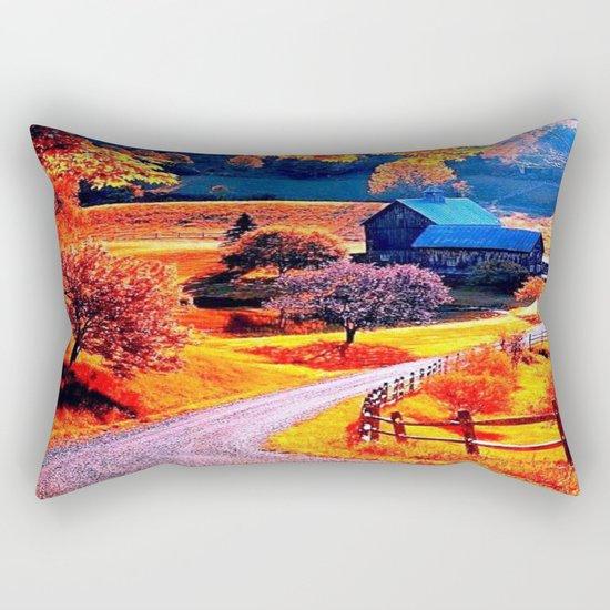 Farmhouse In Autumn Rectangular Pillow