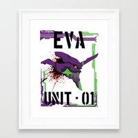 evangelion Framed Art Prints featuring Evangelion Unit 01 by Savinity