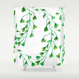 Green Clover Seamless Leafy Watercolour Pattern Shower Curtain