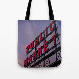 Pike Place Neon Sunrise Tote Bag