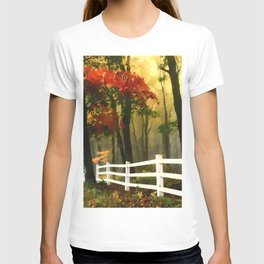 Fall scene with fence T-shirt