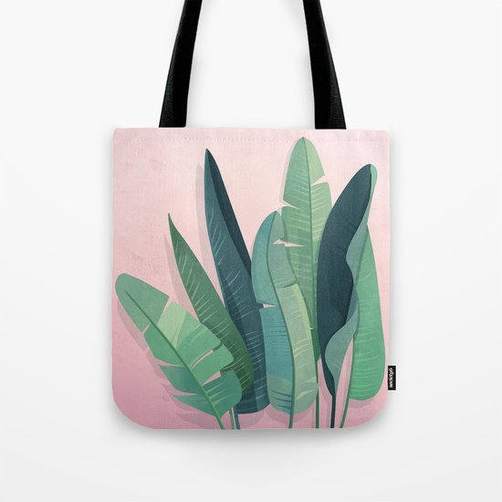 Tropical plants on pink background Tote Bag