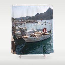 Turkish Fishing Boats Moored at Bozburun Shower Curtain