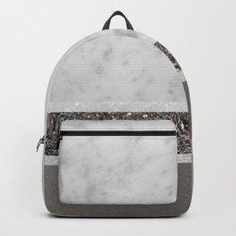 White Marble Silver Glitter Stripe Glam #1 #minimal #decor #art #society6 Backpack