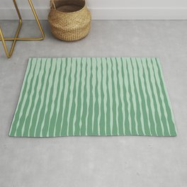 Simple Abstract Rough Organic Stripes | Dark Natural Colors, Grass and Forest Rug