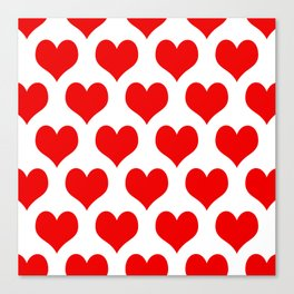 Holidaze Love Hearts Red Canvas Print