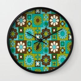 Flower power retro design Wall Clock