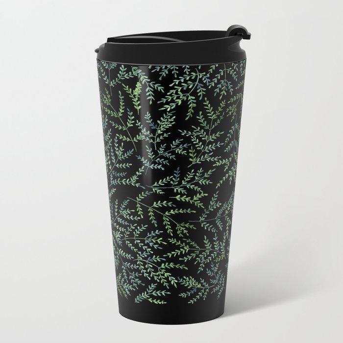 Watercolor leaf pattern Metal Travel Mug