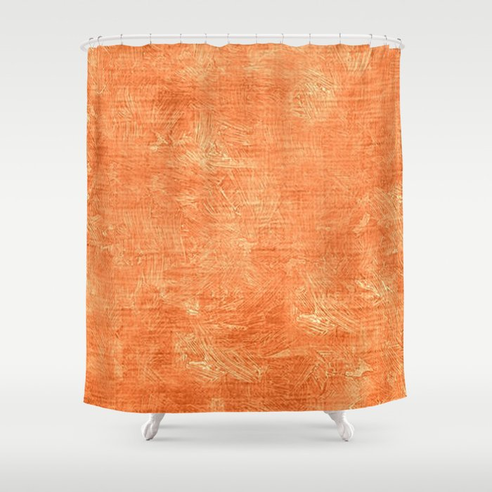Tangerine Oil Painting Color Accent Shower Curtain by saravalor