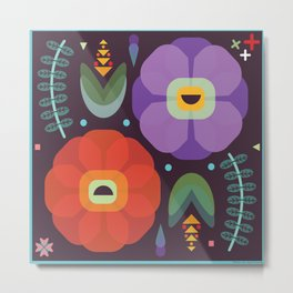 Flowerfully Folk Metal Print