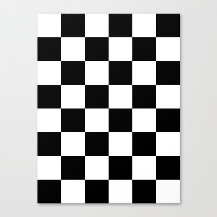 Large Checkered - White and Black Leinwanddruck