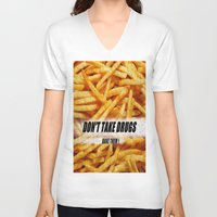 fries V-neck T-shirts featuring French Fries by Ispas Sorin